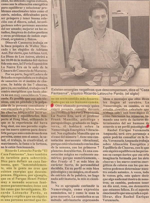 Ricardo Latouche,artículo del Periódico El Siglo, 7 de diciembre de 2000, Maracay, Venezuela